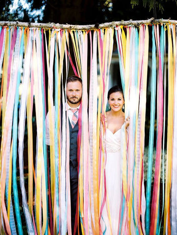 ribbon wedding photo booth backdrop