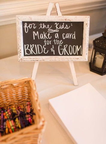 kid friendly wedding card making station