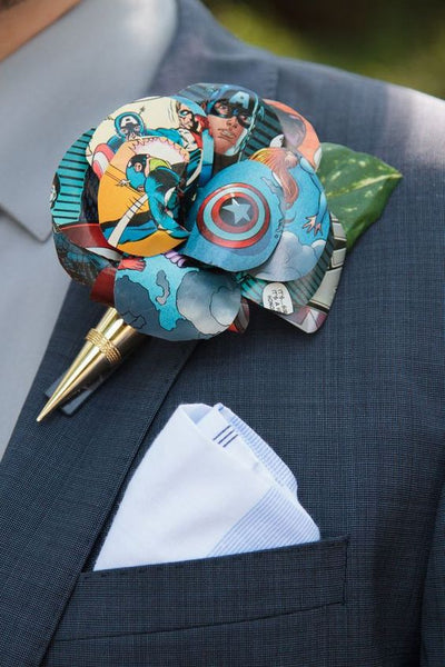 unique non floral boutonniere groom comic book