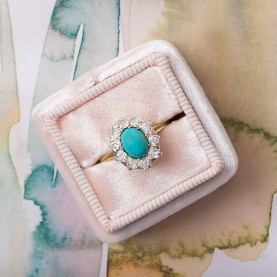 turquoise engagement ring diamond alternative