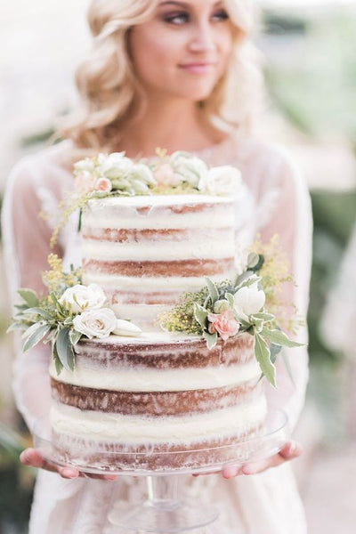 greenhouse botanical wedding naked cake floral