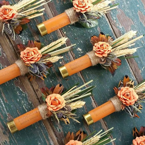 unique boutonniere shotgun shells floral alternative groom