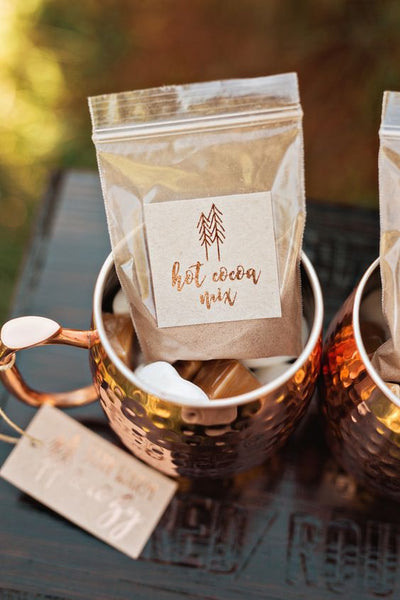 winter wedding copper cream favors