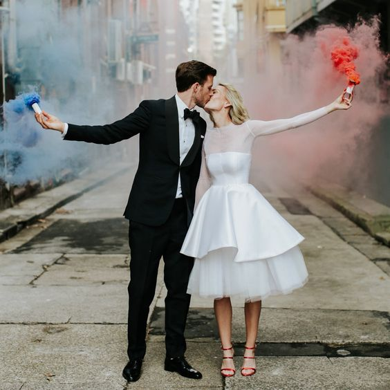 smoke bomb 4th of July wedding