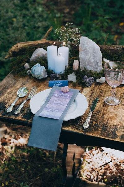 wedding table decor healing crystals