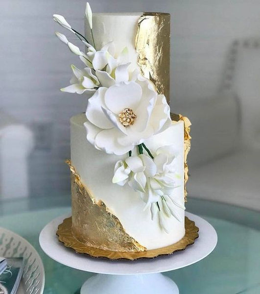 textured gold leaf metallic wedding cakes formal modern