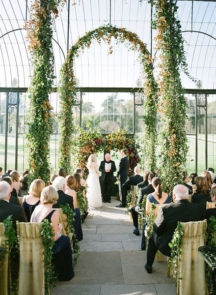 greenhouse botanical wedding ceremony altar