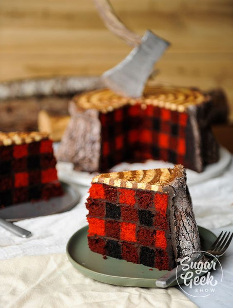 grooms cake tree stump lumberjack