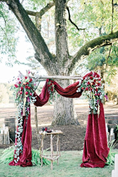 velvet wedding ceremony arch