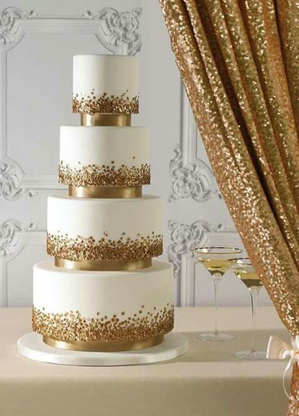 metallic wedding cakes confetti gold
