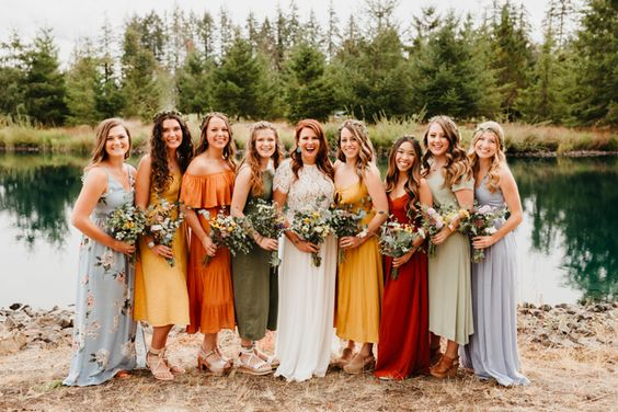 summer camp wedding bridesmaid dresses
