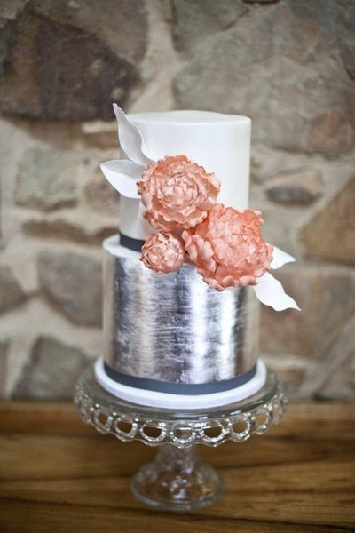 brushed metallic wedding cakes silver