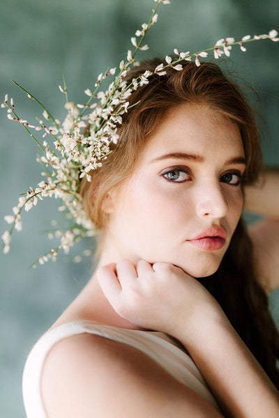 whimsical bride greenhouse wedding inspiration botanical flower crown