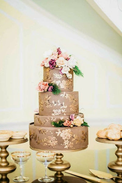 metallic wedding cakes floral hand painted design