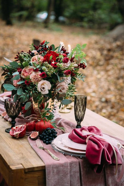velvet wedding table decor