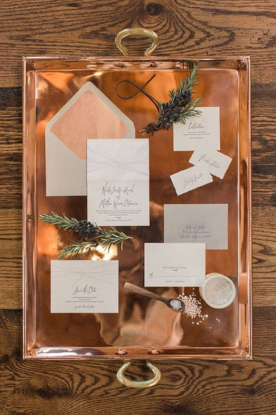 copper winter wedding invitations