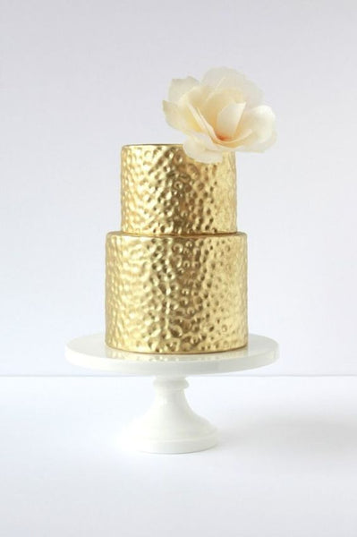 hammered metal metallic wedding cakes