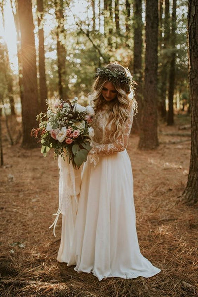 fall wedding long sleeve gown