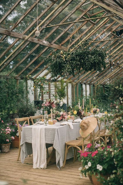 greenhouse wedding reception decor inspiration