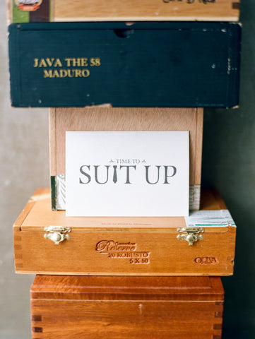 Time To Suit Up Groomsmen Card