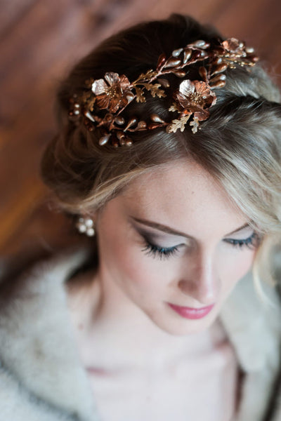 copper winter wedding crown bride