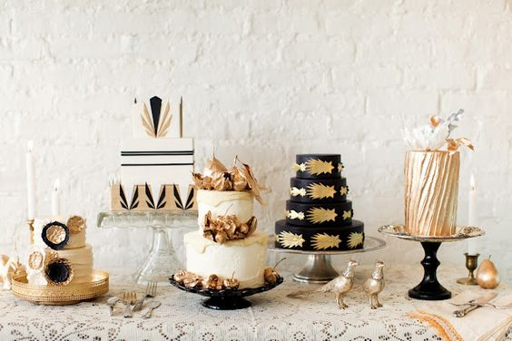 metallic wedding cakes art deco gatsby wedding