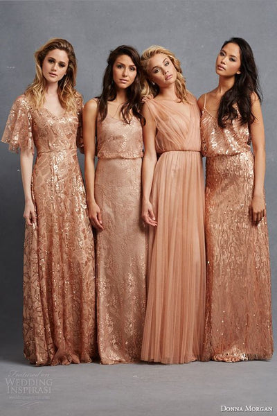 winter wedding bridesmaid dress copper metallic