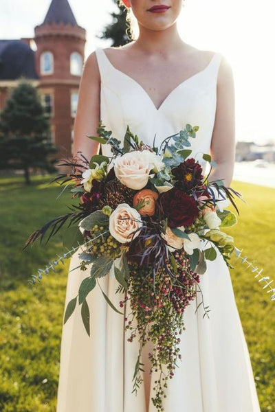 fall wedding cascading bouquet
