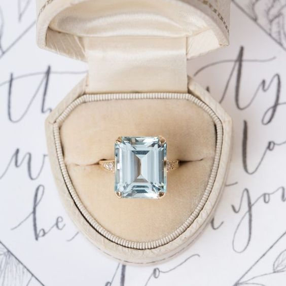 diamond alternative engagement ring aquamarine