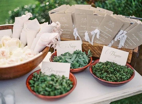 herb confetti wedding flower toss grand exit
