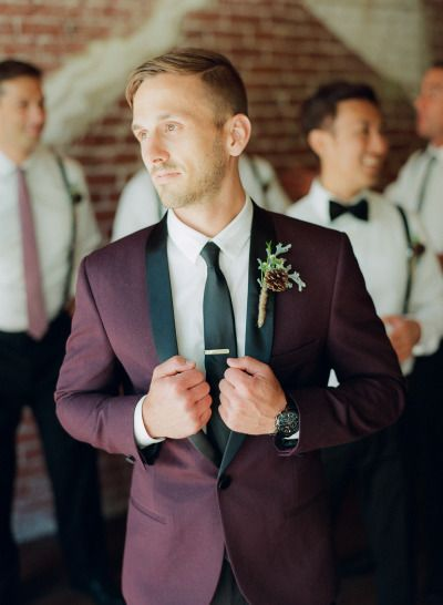 fall wedding oxblood suits