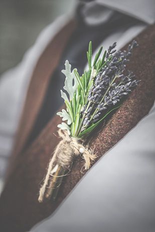 herb wedding boutonniere groomsman