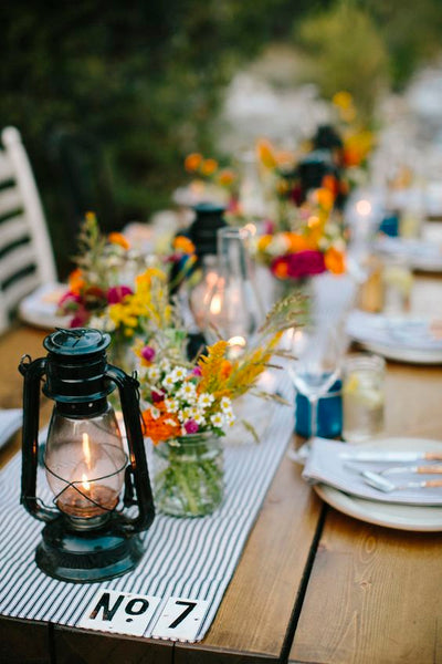 summer camp wedding table decor