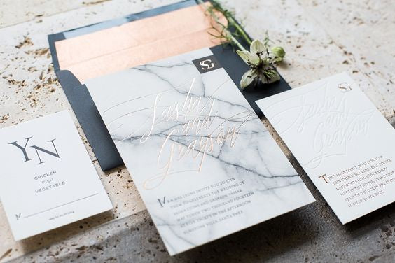 marble wedding inspiration invitation