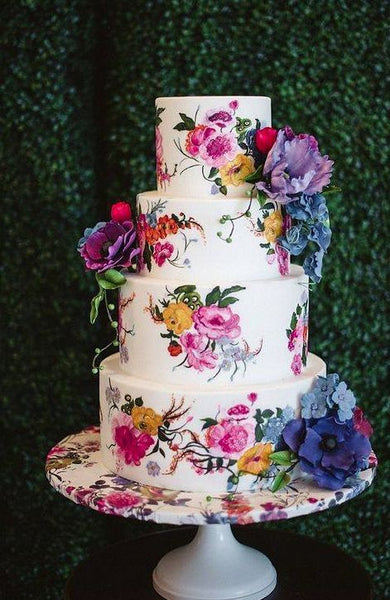 painted wedding cakes trends 2019