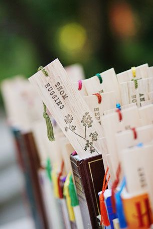 literary wedding bookmark guest favors