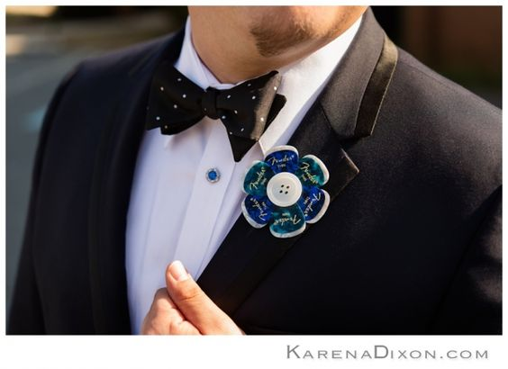 unique boutonniere inspiration guitar pick flower alternative groom