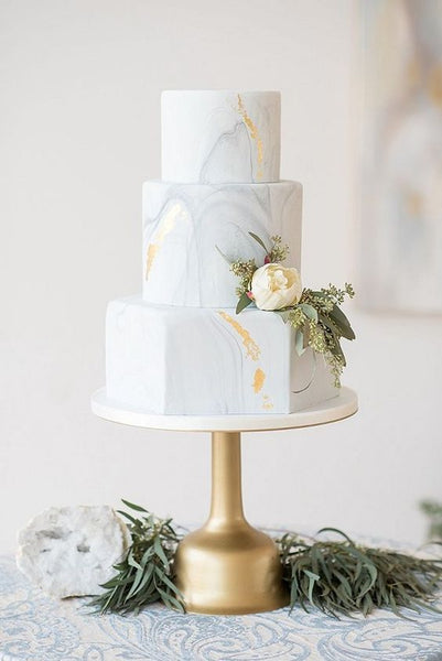 marble metallic wedding cakes