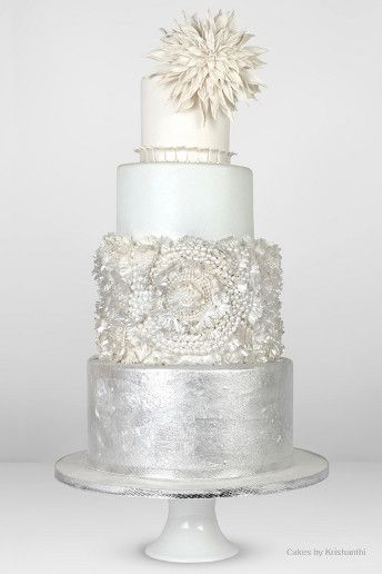 metallic wedding cakes silver art deco gatsby new year