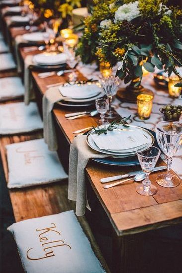 fall wedding trestle table