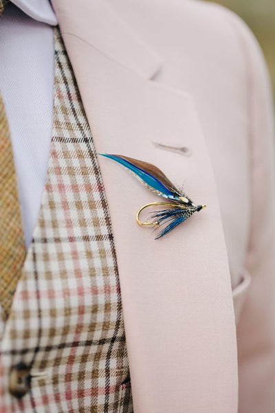 unique boutonniere fishing fly flower alternative groom