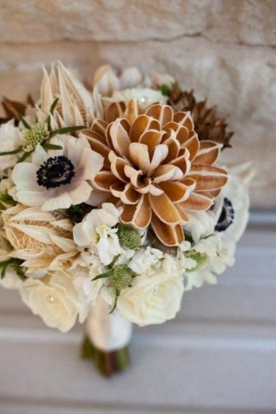 winter wedding copper flowers