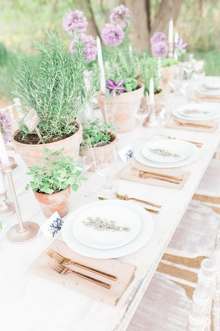 herb container garden wedding table decor