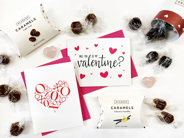 valentines day cards and gifts, caramels
