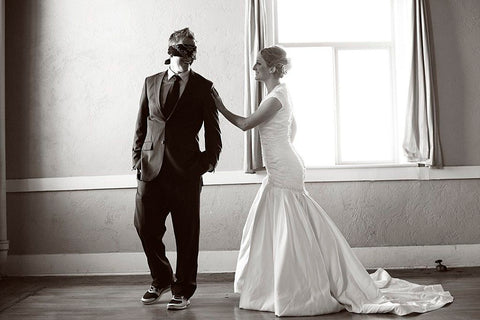 first look blindfold bride groom