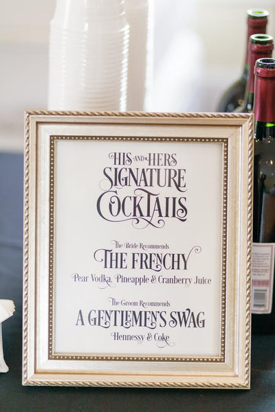 signature cocktail drink sign wedding