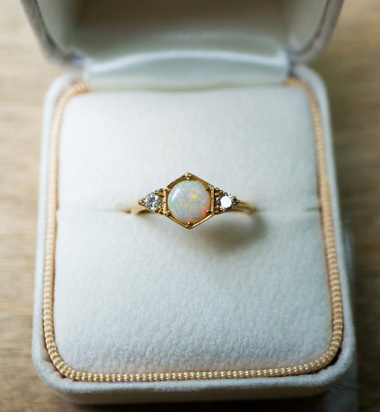 opal diamond engagement ring alternative