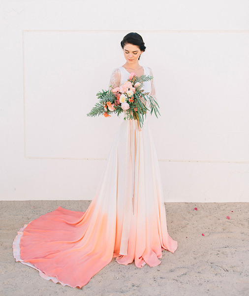 living coral wedding gown watercolor dip dye