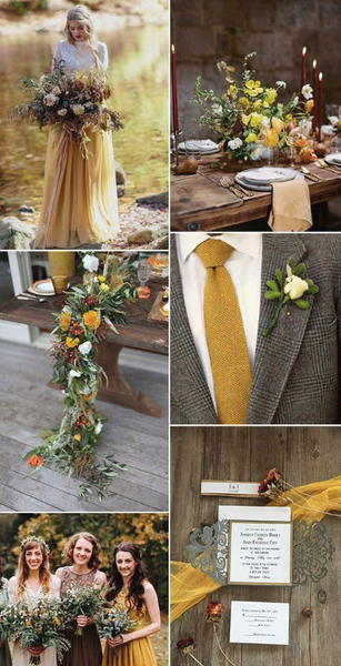 mustard yellow wedding color palette 2019 fall