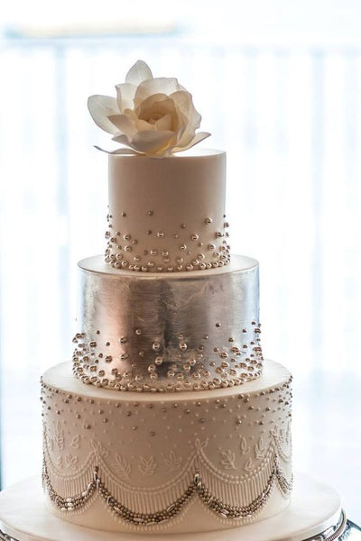 pearl metallic wedding cakes romantic design
